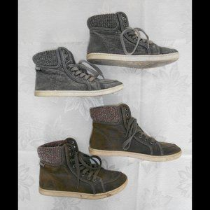 ROXY High Top Grey & Brown Lace Up Shoes Size 6